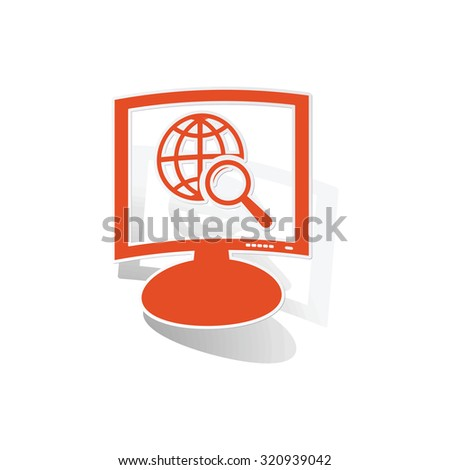 Global search monitor sticker, orange monitor with image inside, on white background - stock photo
