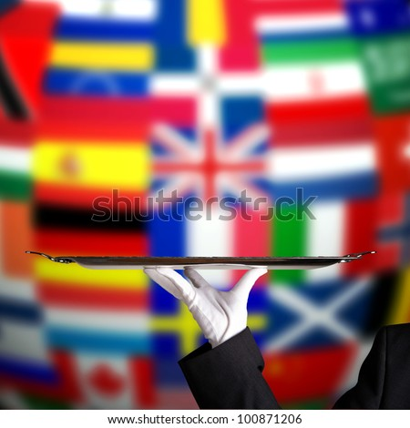 Global service flags - stock photo