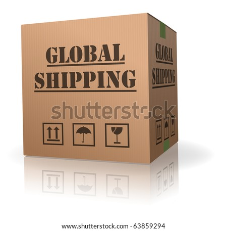 global shipment of cardboard box package shipping online order around the world