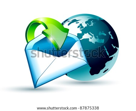 Global Shipping and Communication Email concept illustations with a 3D glossy Globe and style postcard with an arrow pointing to the center of the image. - stock photo