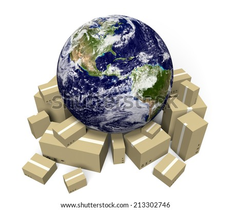 Global shipping and delivery courier service, parts of this image furnished by NASA - stock photo