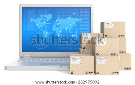 Global shipping. Laptop with globl network map screen and pile of cardboard boxes.