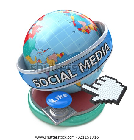 Global Social Media and Button Like. Conceptual Technology - stock photo