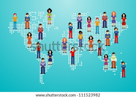 Global social media people network over World map. - stock photo