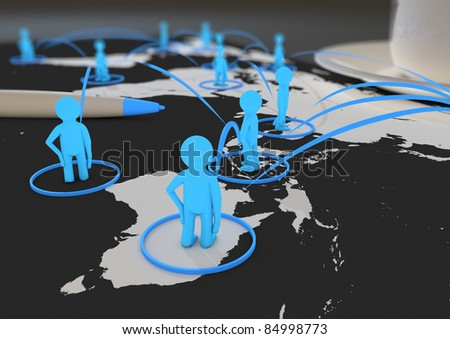 global social network - stock photo