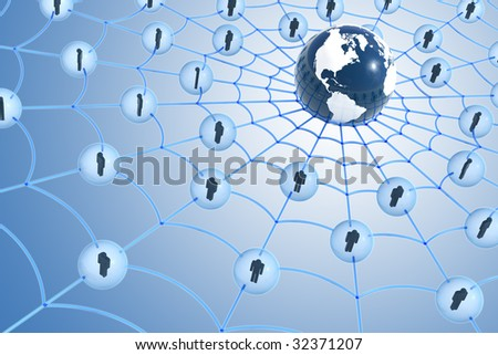Global social network concept. Hi-res digitally generated image. - stock photo