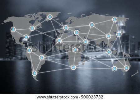 Global social network or people management connection diagram icons with map connection. Network work connections concept