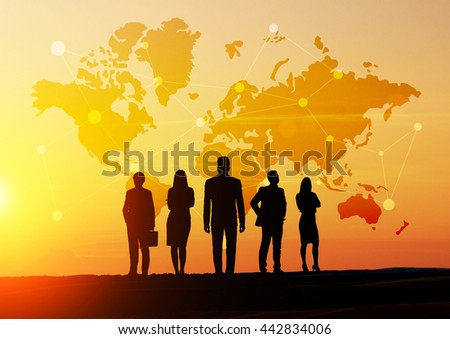 Global social networking concept with map, abstract network and businesspeople silhouettes at sunset