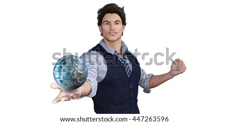 Global Technology Concept with Man Holding Globe 3d Illustration Render - stock photo