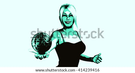 Global Technology Concept with Woman Holding Globe 3D Illustration Render - stock photo