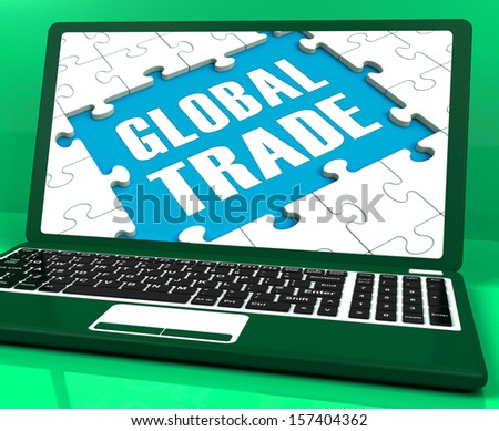 Global Trade Laptop Showing Worldwide International Business