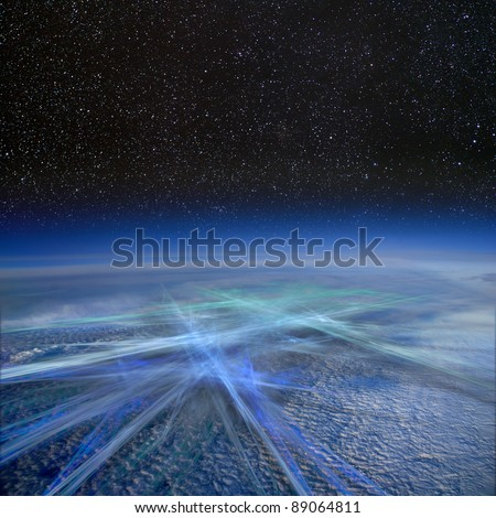Global transport and communication. - stock photo
