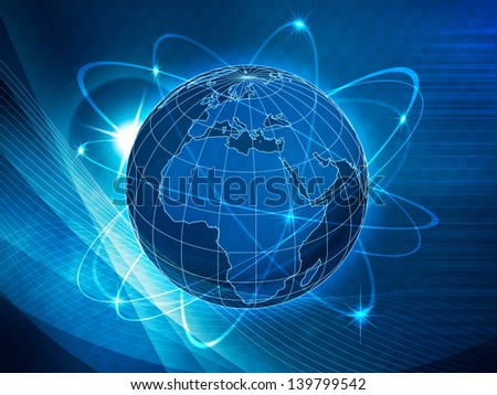 Global transportation and communications background - stock photo