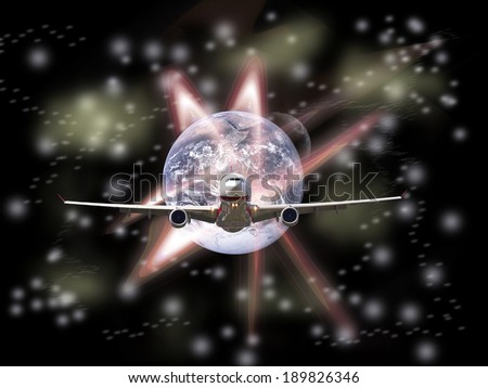 global transportation in the future(Earth Elements of this image furnished by NASA) - stock photo