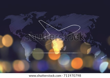 Global travel industry concept airplane taking stock illustration global travel industry concept airplane taking off over world map overlay and nighttime city bokeh gumiabroncs Choice Image