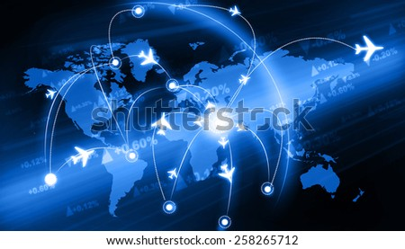 Global travel network 	 - stock photo
