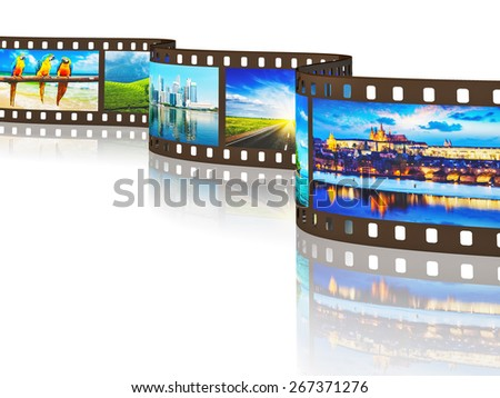 Global travel world countries concept - photo film with travel images with reflection on white background - stock photo