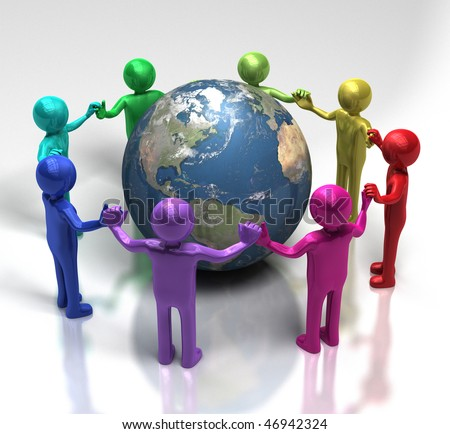 Global Unity through diversity - [ multi-coloured characters holding hands in a chain around earth ]