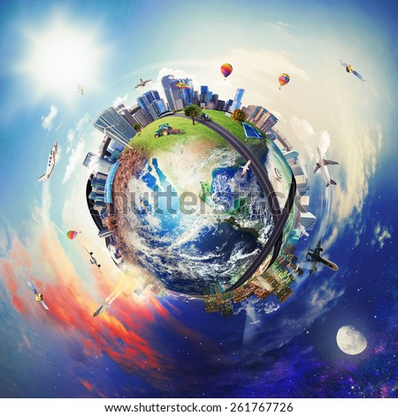 Global view of business world. World provided by NASA - stock photo