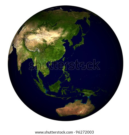 Global view on Asia, centered on the Philippines