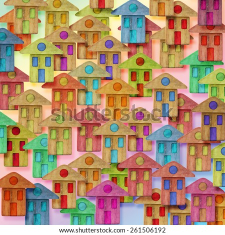 Global Village conceptual image with many colorful houses  - stock photo
