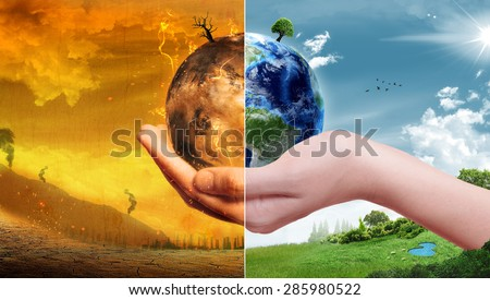 Global Warming and Pollution Concept - Sustainability (Elements of this image furnished by NASA) - stock photo