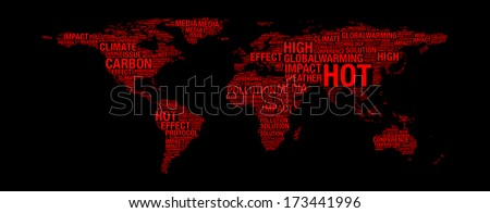 Global warming concept on world map illustration in word collage - stock photo