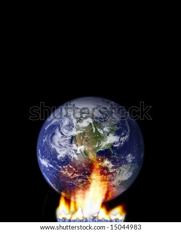 global warming concept with globe and fire. http://veimages.gsfc.nasa.gov/ - stock photo