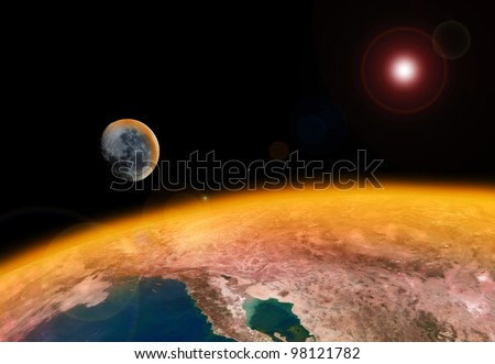 Global Warming Destroying the Earth (images of the earth and moon are public domain images from NASA) - stock photo