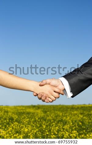 Global warming handshake - Conceptual image - stock photo