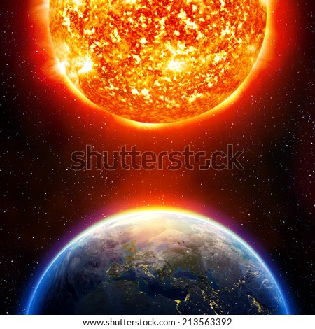 global warming in Europe - Europe and sun  elements of this image furnished by NASA  - stock photo