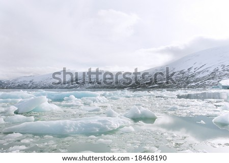 global warming in Jostedalsbreen glacier - stock photo