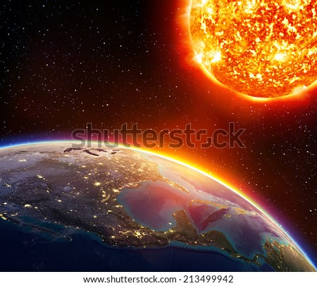 global warming in Usa - America and sun  elements of this image furnished by NASA  - stock photo
