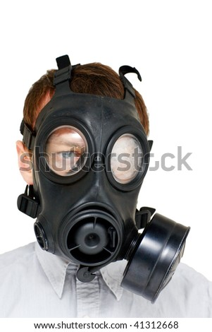 global warming - man with gas mask