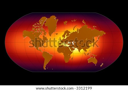 Global Warming Map - stock photo