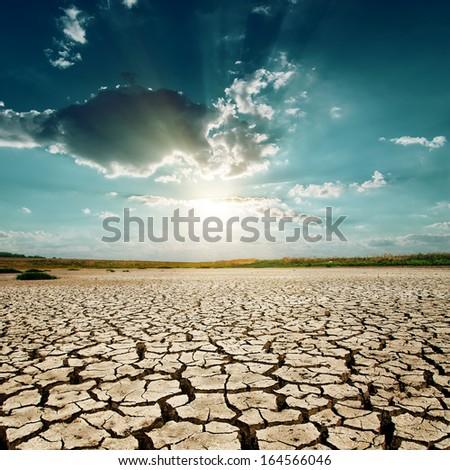 global warming. sunset over desert - stock photo