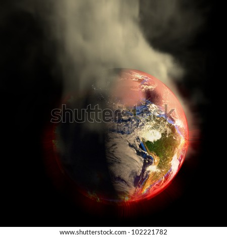 Global warming? The sun's energy multiplied? 2012? Nuclear War? Your choice! This earth irradiation concept is an awesome depiction a worldwide energy disaster. Elements of this image furnished by NASA. - stock photo