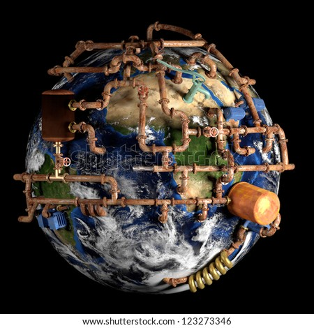 Global water supply. A very detailed conceptual image. Elements of this image furnished by NASA. - stock photo