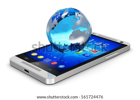 Global wireless communication technology and mobility internet web business concept: Earth globe with map on touchscreen smartphone with colorful interface with icons isolated on white background - stock photo