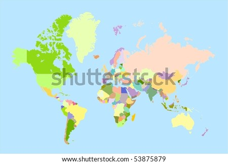 Global world map, each country is the individual isolated object. - stock photo