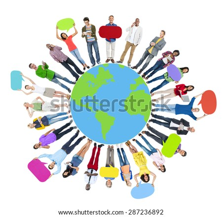 Global World Map People Circle Happiness Togetherness Cheerful Concept - stock photo