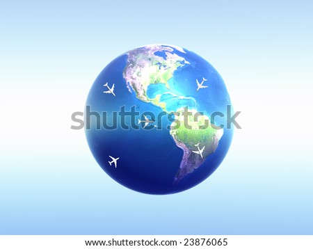 global world travel on white - stock photo