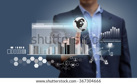 Globalization. Businessman pressing on virtual Internet Computer. Design concept of Business and Information technology. Economic and Database System. Technology and Communication. - stock photo