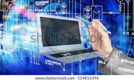 Globalization  engineering computer technology - stock photo