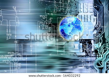 Globalization innovative computers engineering technologies - stock photo