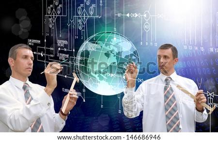 Globalization new engineering designing technologies - stock photo