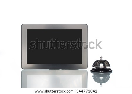globalization website Cooperation hotel booking lodging,  internet reservation, tablet with bell - stock photo