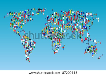 Globalizing world map people made flags stock photo 87200113 globalizing world map with people made from flags gumiabroncs Gallery