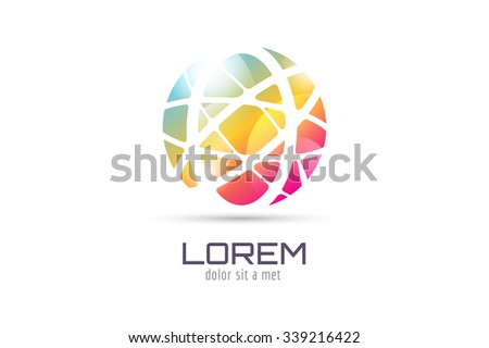 Globe abstract logo template. Circle round shape and earth symbol, geometric icon, creative idea or flow, lines, web net. Company logotype. Stock illustration.