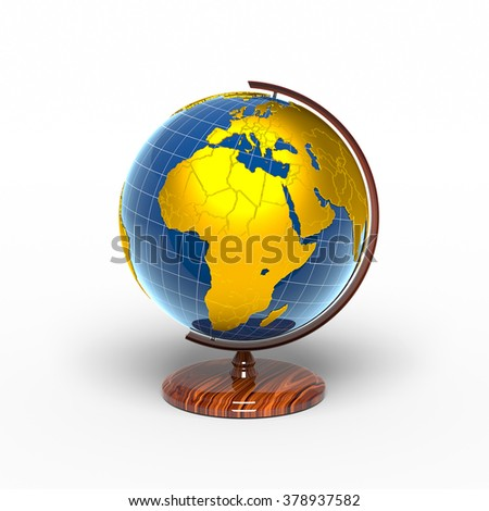 Globe, Africa, golden continents - stock photo